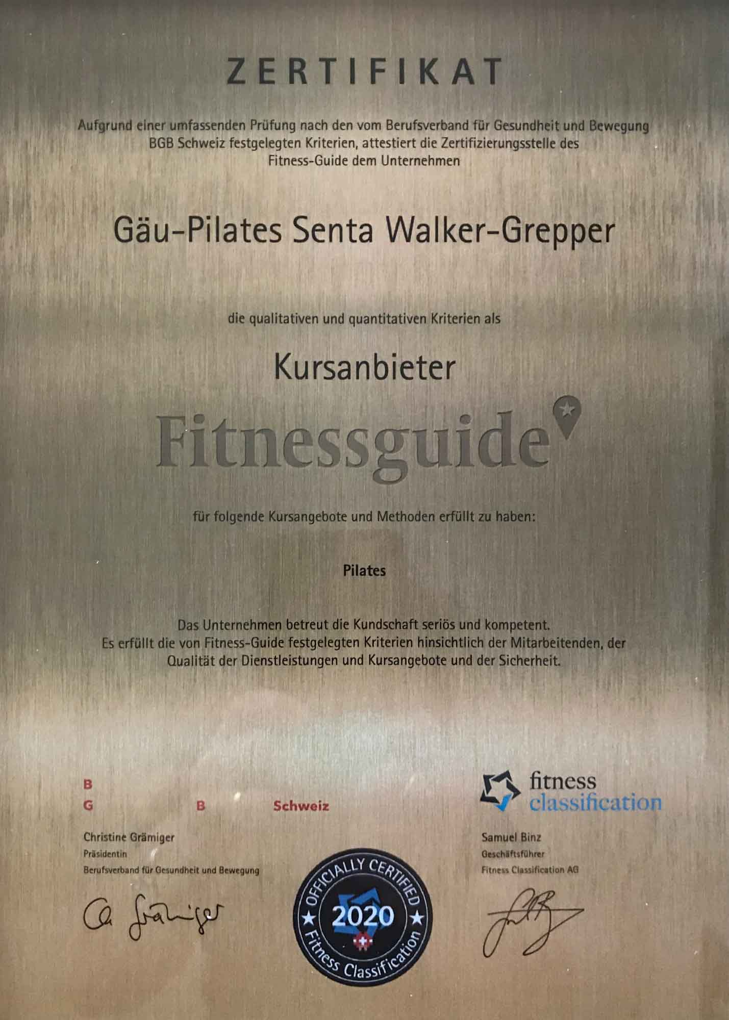 Zertifikat Pilates art2flow Senta Walker-Grepper
